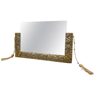 French Art Deco White and Yellow Gold Geometric Foliage Mirror For Sale