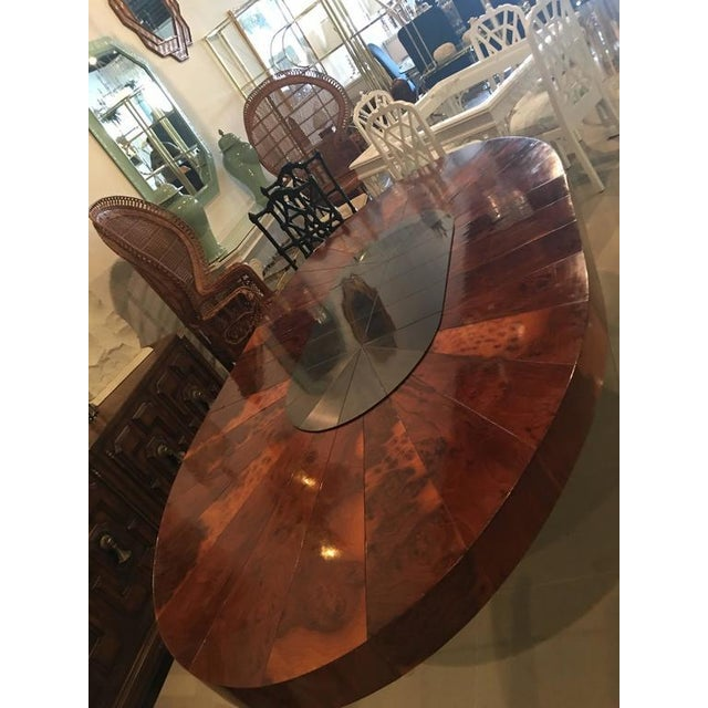 Amazing vintage Paul Evans Cityscape burl wood and brushed metal dining table. Metal base and top piece with burl wood...