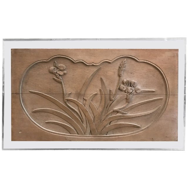 Floral Caved Oak Relief Mounted on Acrylic Panel For Sale In Los Angeles - Image 6 of 6