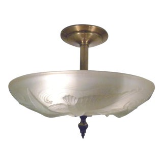 French Glass Semi-Flush Mount For Sale