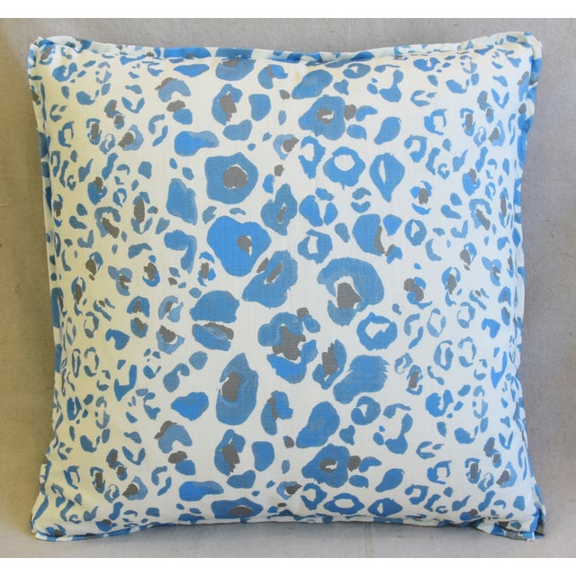 """Boho Chic Pindler & Pindler Leopard Animal Spot & Velvet Feather/Down Pillows 20"""" Square - Pair For Sale - Image 3 of 13"""