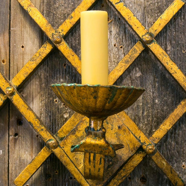 1970s French Gilt-Iron Sconces For Sale - Image 5 of 7