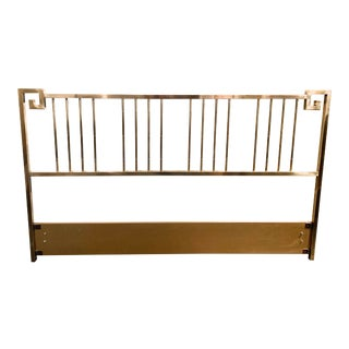 Hollywood Regency Mastercraft Greek Key Brass King Headboard For Sale