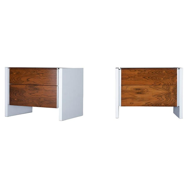 Mid-Century Modern Pair of White Lacquered Glenn California Nightstands For Sale - Image 3 of 11