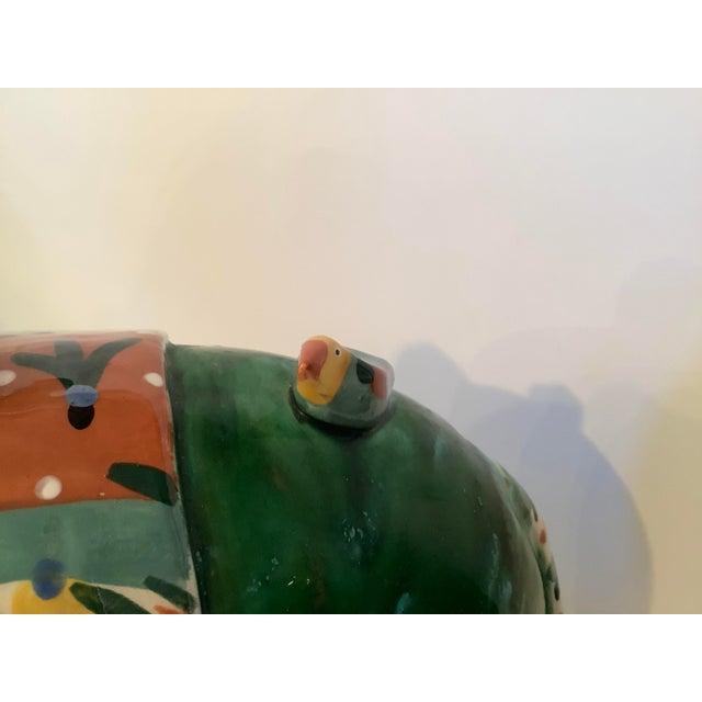 Green 1980s Vintage Whimsical Glazed Ceramic Elephant Sculpture For Sale - Image 8 of 12