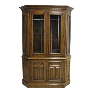 Ethan Allen Royal Charter Oak Jacobean Petite China Cabinet For Sale