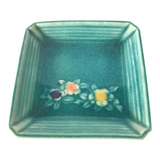 Contemporary Teal Ceramic Square Tray For Sale