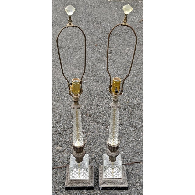 Transparent Vintage 20th Century French Empire Style Pressed Glass & Metal Lamps - a Pair For Sale - Image 8 of 8