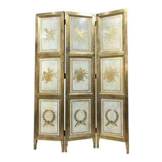 20th Century Italian Giltwood Florentine Room Divided Screen Hollywood Regency For Sale