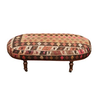 English Kilim Ottoman For Sale
