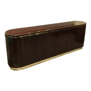 1960s Art Deco Lacquer Credenza With Brass Trim For Sale