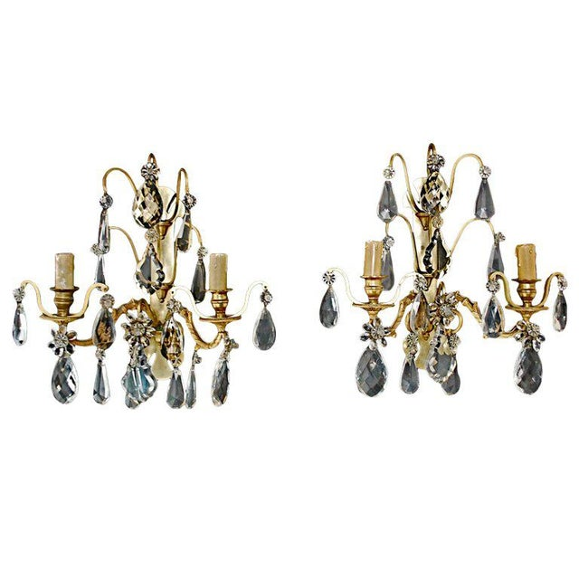 Maison Baguès French Bronze/Crystal Sconces Attributed to Bagues - A Pair For Sale - Image 4 of 4