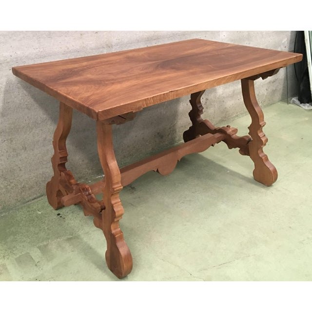 Early 20th Century Spanish PineTrestle Table With Wood Stretcher For Sale - Image 4 of 12