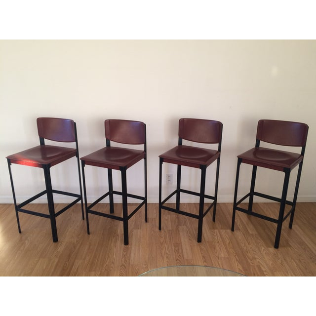 Italian Matteo Grassi Sistina Leather Bar Stools Set of 4 For Sale - Image 3 of 9