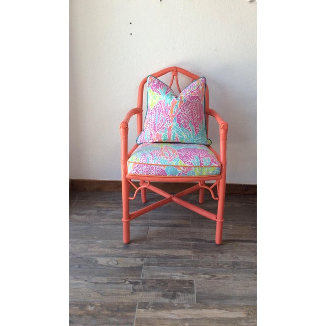Ficks Reed Vintage Ficks Reed Coral Bamboo Rattan Armchairs - a Pair For Sale - Image 4 of 5