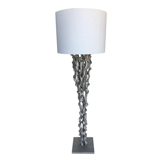 Silver Twisted Wood Floor Lamp Chairish