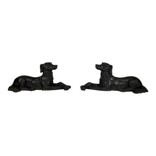 Cast Iron Dog Statues - a Pair For Sale