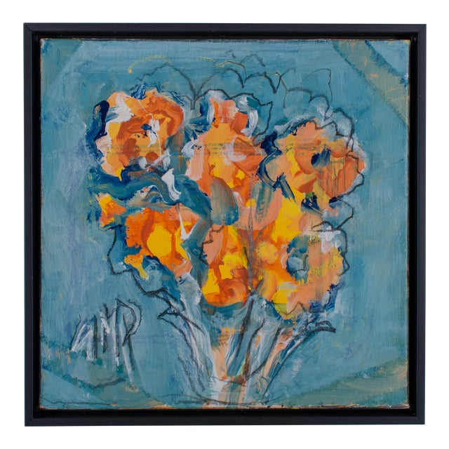 "Abstract Oil Painting on Canvas, ""Orange Flowers"" by Suzanne McCullough Plowden For Sale"