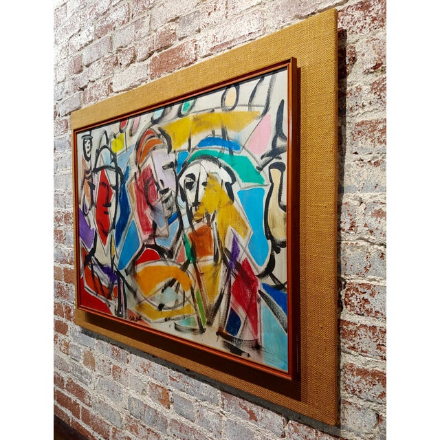 Watercolor 1960s Pascal Cucaro Abstract Faces in a Landscape Oil Painting For Sale - Image 7 of 9