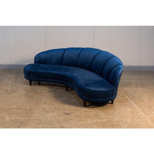 Early 21st Century Dark Blue Velvet Seashell Sofa For Sale - Image 5 of 6