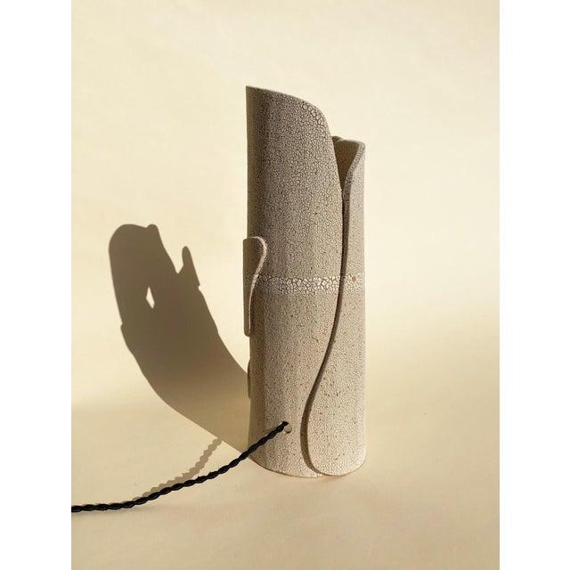 2020s Modern Mat White Sculptural Ceramic Lamp For Sale - Image 5 of 6