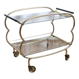 Petit Mid Century Regency Brass and Glass Bar Cart For Sale