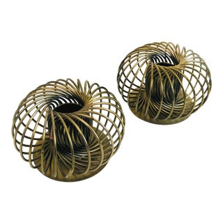 Pair of Vintage Brass Spring Candle Holders For Sale