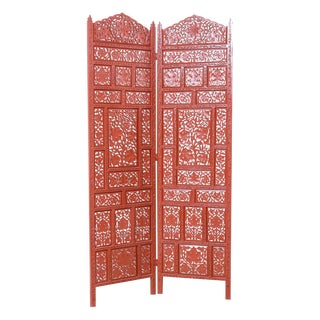 Two-Panel Mango Wood Floor Screen in a Cinnabar Color, Anglo Indian For Sale