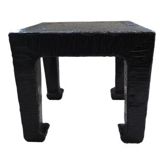 19th Century Chinese Black Lacquered Textured End Tables