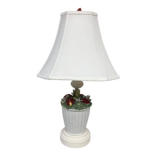 Italian Ceramic Floral Lamp With White Shade