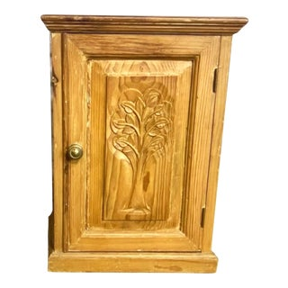 Vintage Pine Cabinet With Tree of Life Carving For Sale