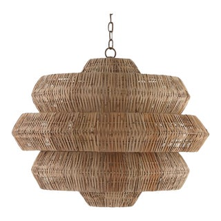 The Antibes Rattan Chandelier by Currey and Company For Sale