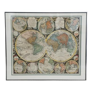 17th Century World Map - Hand Colored Reproduction