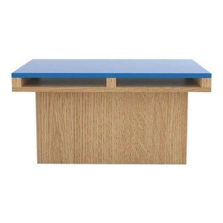 Contemporary 102 End Table in Oak and Blue by Orphan Work, 2020 For Sale