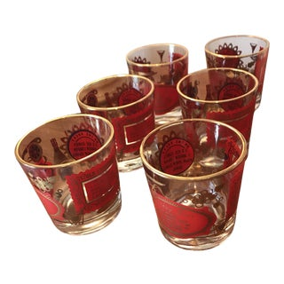 1960s Vintage Red & Gold Low Ball Glasses- Set of 6 For Sale