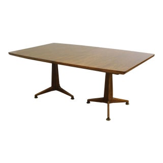 John Widdicomb Mid Century Modern Walnut Expandable Dining Table with 3 Leaves For Sale