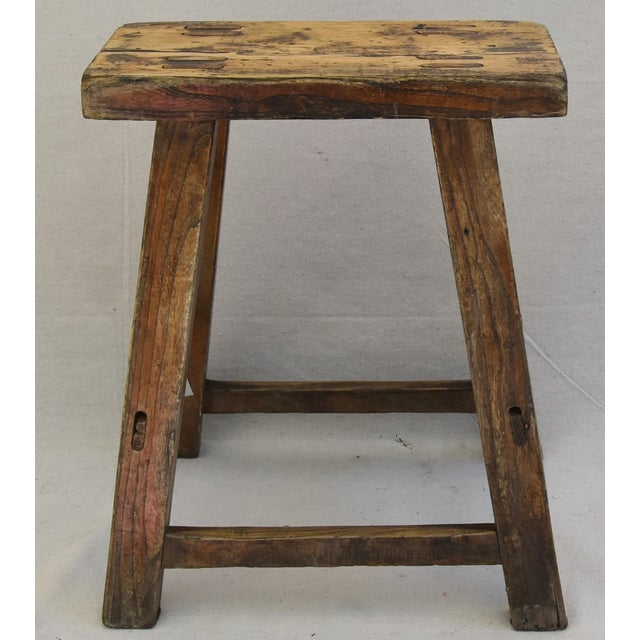 Cottage Rustic Primitive Country Wood Farmhouse Stool For Sale - Image 3 of 11
