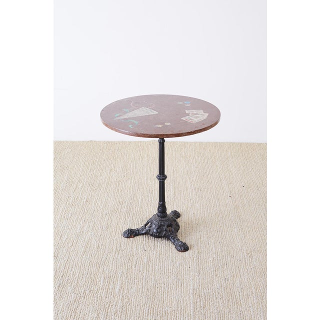 Art Nouveau French Trompe l'Oeil Marble Granite Inset Bistro Table For Sale - Image 3 of 13