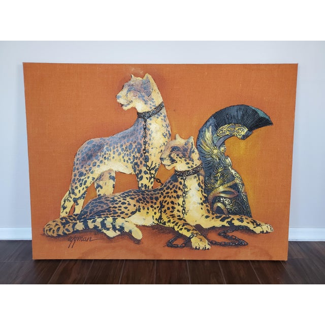 1970s Mid-Century Modern Roman Cheetah Oil Painting on Burlap Canvas by Wyman For Sale - Image 13 of 13