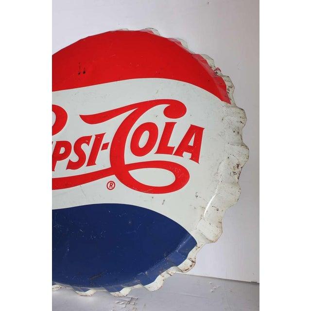 Americana 1950's Vintage Giant Original Pepsi Cola Cap Sign For Sale - Image 3 of 3