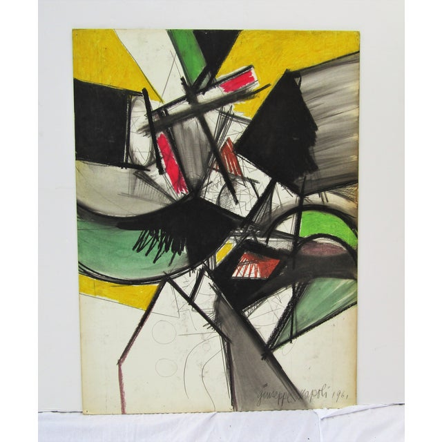 1961 Vintage Giuseppe Napoli Abstract Modern Painting For Sale In West Palm - Image 6 of 6