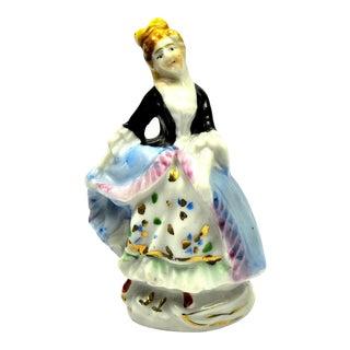 1940s Vintage Bone China Porcelain Victorian Dressed Woman Figurine, Occupied Japan For Sale