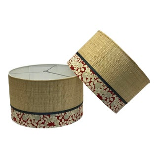 Round Straw Round Lamp Shades - a Pair For Sale