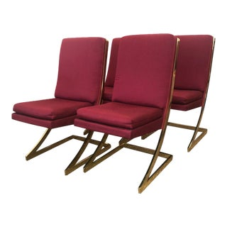 Milo Baughman Style Red Dining Chairs - Set of 4 For Sale