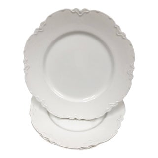 Early 1900s Johnson Brothers White Scalloped Dinner Plates - Set of 4 For Sale