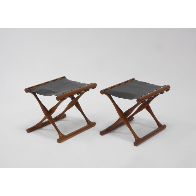 """Mid 20th Century Pair of """"Guldhøj"""" Stools by Poul Hundevad For Sale - Image 5 of 9"""