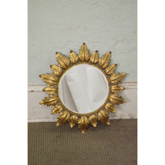 Hollywood Regency Mid century Gold Gilt Metal Starburst Wall Mirror - Image 10 of 11