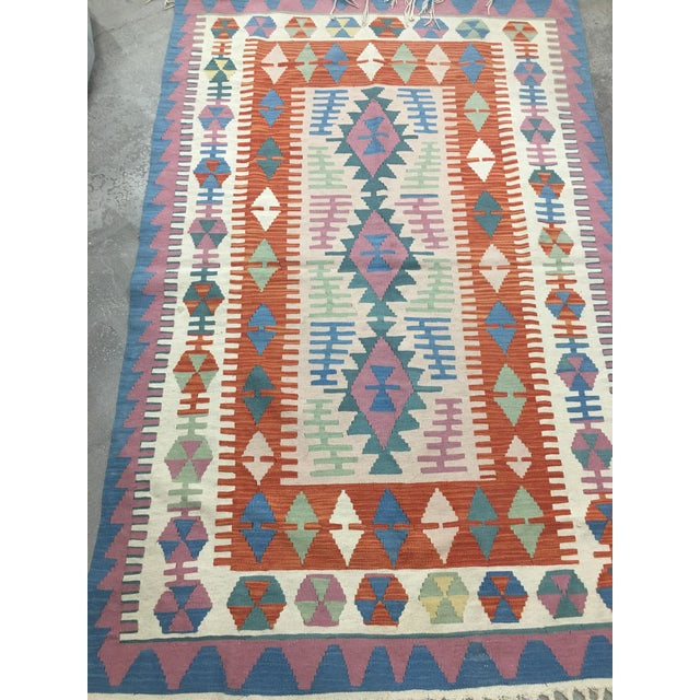 Contemporary Contemporary Turkish Kilim Rug - 4′ × 6′2″ For Sale - Image 3 of 11