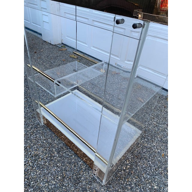 Metal Vintage Charles Hollis Jones Lucite Bar and Stools For Sale - Image 7 of 10