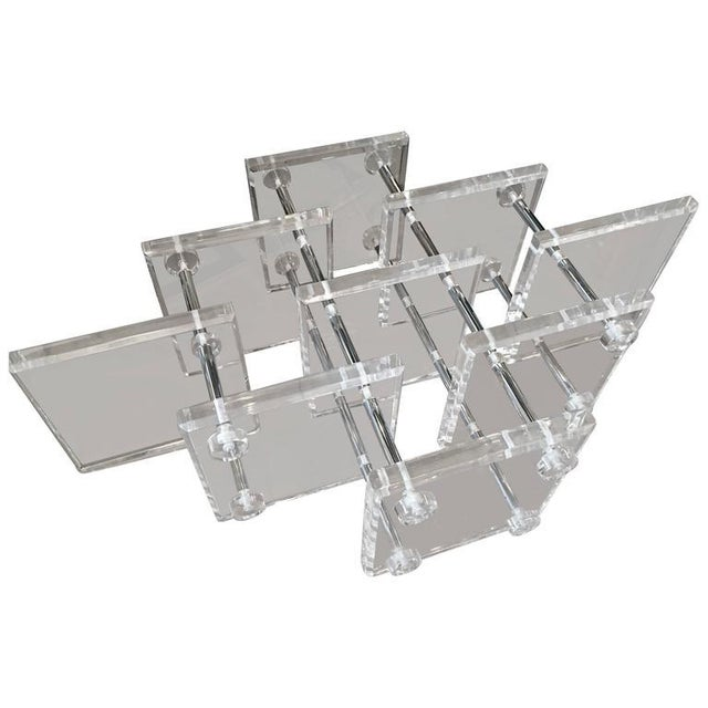 Hollywood Regency Lucite and Chrome Coffee Cocktail Table - Image 11 of 12